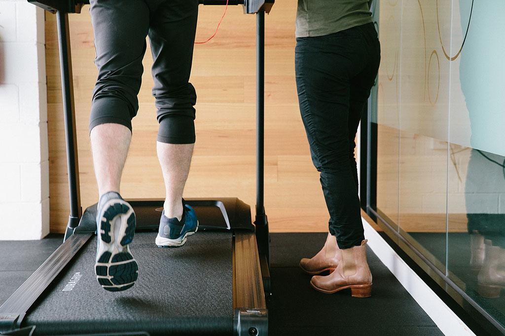 Man on treadmill walking